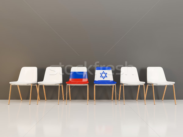 Chairs with flag of Russia and israel Stock photo © MikhailMishchenko