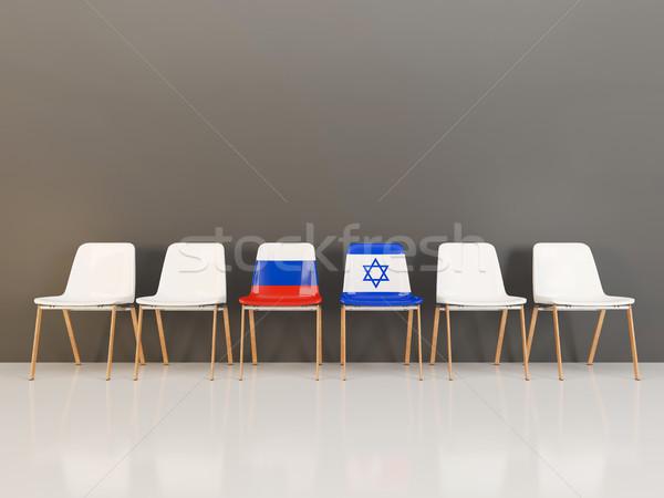 Székek zászló Oroszország Izrael csetepaté 3d illusztráció Stock fotó © MikhailMishchenko