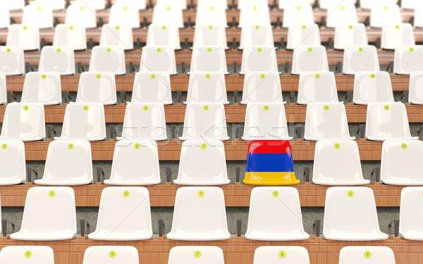Stadion zitting vlag Armenië rij witte Stockfoto © MikhailMishchenko