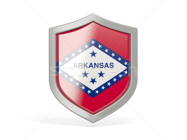 Shield icon with flag of arkansas. United states local flags Stock photo © MikhailMishchenko