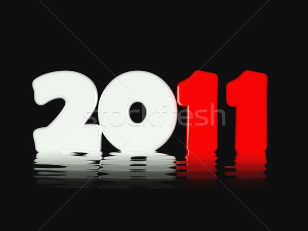 2011 ano novo símbolo tempo vermelho ferramenta Foto stock © MikhailMishchenko