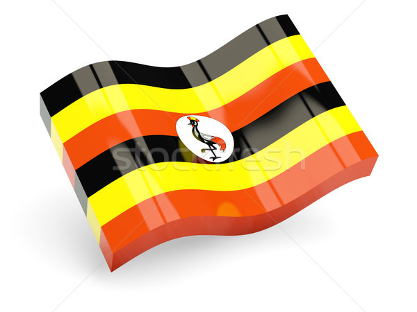 Stock fotó: 3D · zászló · Uganda · izolált · fehér · hullám