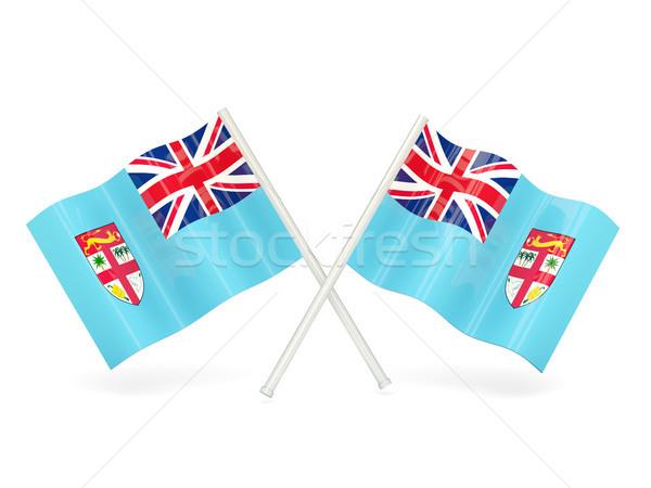 Bandiera Fiji due ondulato bandiere isolato Foto d'archivio © MikhailMishchenko