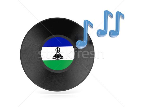 Vinyle disque pavillon Lesotho isolé blanche Photo stock © MikhailMishchenko