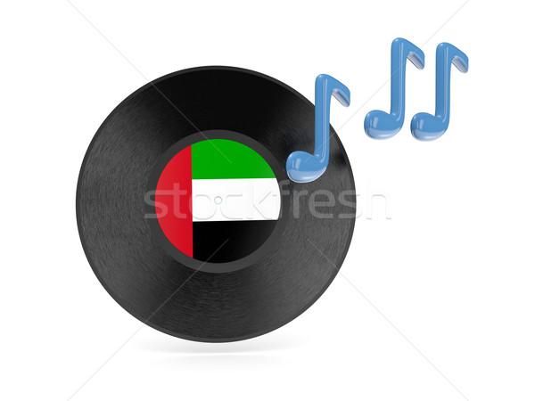 Vinyl schijf vlag Verenigde Arabische Emiraten geïsoleerd witte Stockfoto © MikhailMishchenko
