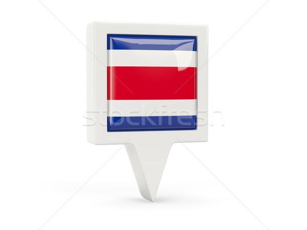 Piazza bandiera icona Costarica isolato bianco Foto d'archivio © MikhailMishchenko
