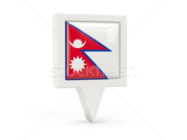 Kare bayrak ikon Nepal yalıtılmış beyaz Stok fotoğraf © MikhailMishchenko