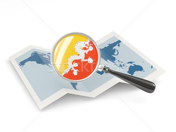 Vlag Bhutan kaart reizen Stockfoto © MikhailMishchenko
