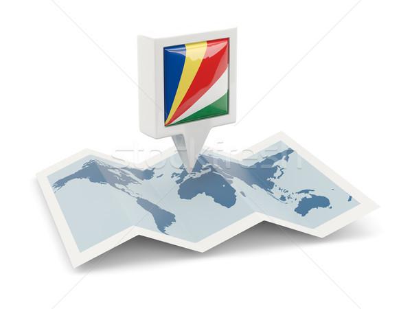 квадратный Pin флаг Сейшельские острова карта путешествия Сток-фото © MikhailMishchenko