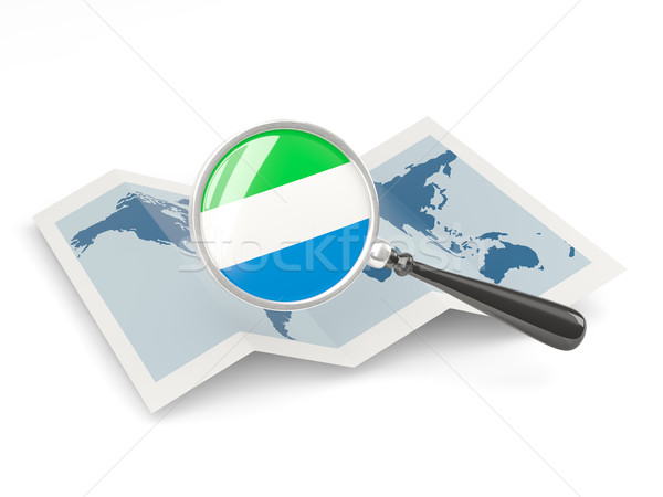 Magnified flag of sierra leone with map Stock photo © MikhailMishchenko