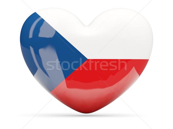 Coração ícone bandeira República Checa isolado Foto stock © MikhailMishchenko