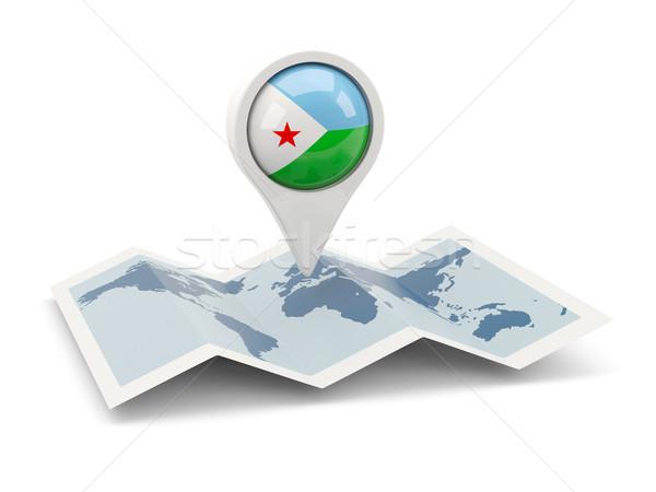 Pin banderą Dżibuti Pokaż podróży biały Zdjęcia stock © MikhailMishchenko