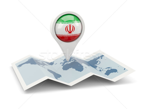 Tő zászló Irán térkép utazás fehér Stock fotó © MikhailMishchenko