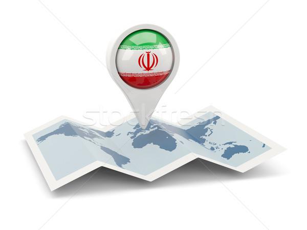 Pin bayrak İran harita seyahat beyaz Stok fotoğraf © MikhailMishchenko