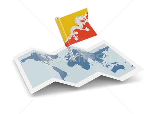 Kaart vlag Bhutan geïsoleerd witte Stockfoto © MikhailMishchenko