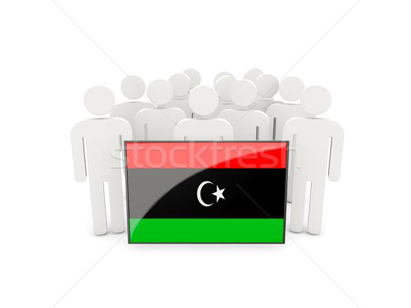 Ludzi banderą Libia odizolowany biały tłum Zdjęcia stock © MikhailMishchenko