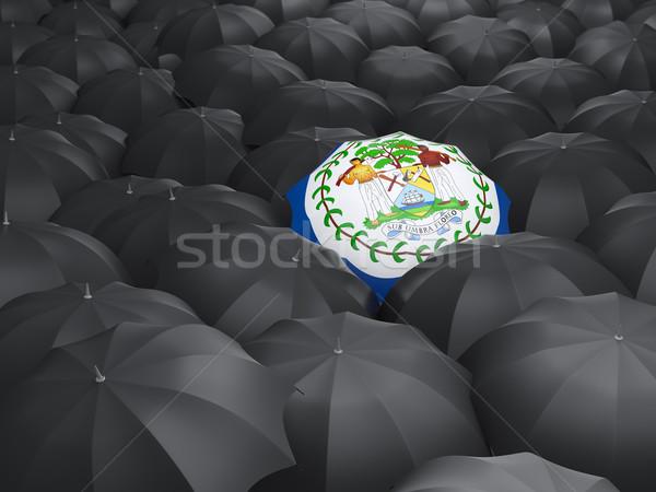 Esernyő zászló Belize fekete esernyők utazás Stock fotó © MikhailMishchenko