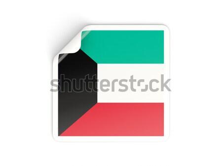 квадратный наклейку флаг Кувейт изолированный белый Сток-фото © MikhailMishchenko