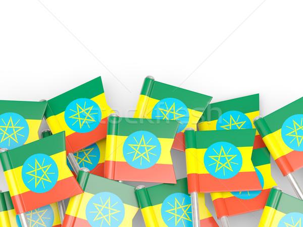 Banderą pin Etiopia odizolowany biały tle Zdjęcia stock © MikhailMishchenko