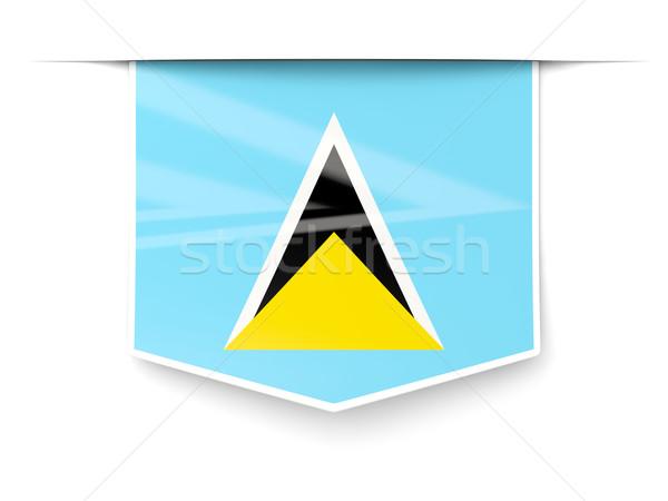 Square label with flag of saint lucia Stock photo © MikhailMishchenko