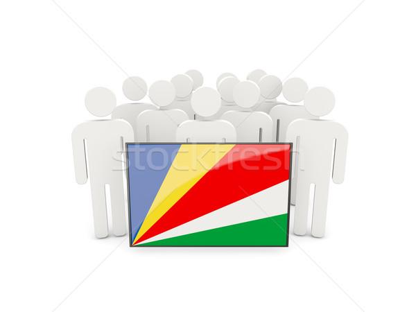 Emberek zászló Seychelle-szigetek izolált fehér tömeg Stock fotó © MikhailMishchenko