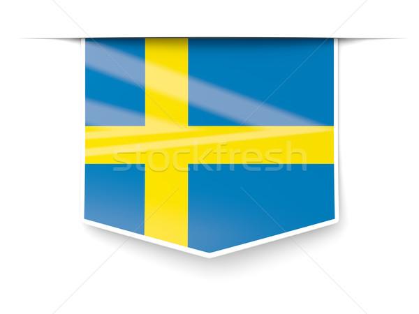 広場 ラベル フラグ スウェーデン 孤立した 白 ストックフォト © MikhailMishchenko