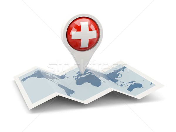Pin bandera Suiza mapa viaje blanco Foto stock © MikhailMishchenko