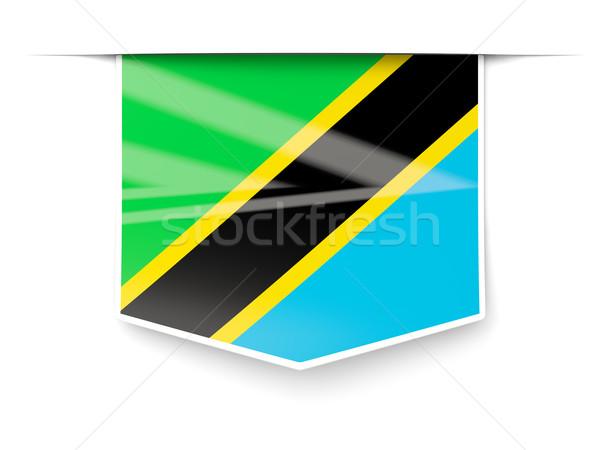 Platz Label Flagge Tansania isoliert weiß Stock foto © MikhailMishchenko