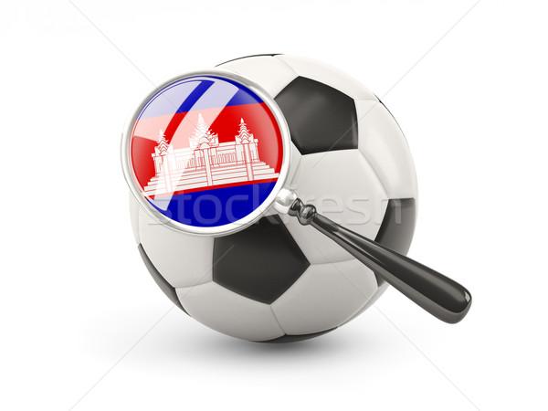 Futebol bandeira Camboja isolado branco Foto stock © MikhailMishchenko
