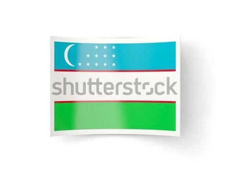 Tér fém gomb zászló Üzbegisztán izolált Stock fotó © MikhailMishchenko