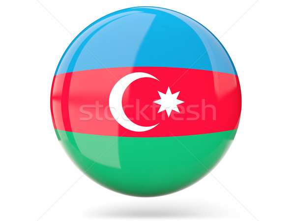 Icon vlag Azerbeidzjan glanzend teken witte Stockfoto © MikhailMishchenko