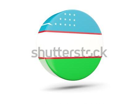 Ikon zászló Üzbegisztán fényes felirat fehér Stock fotó © MikhailMishchenko