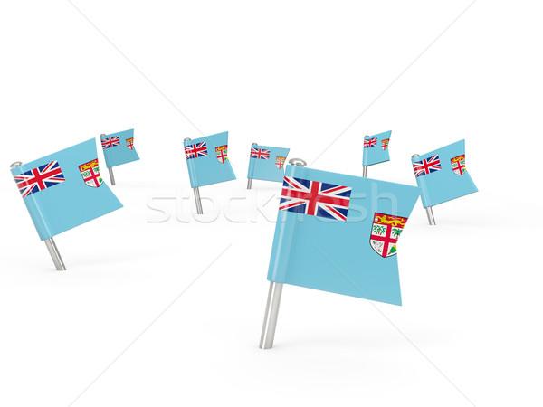Tér zászló Fidzsi-szigetek izolált fehér vidék Stock fotó © MikhailMishchenko
