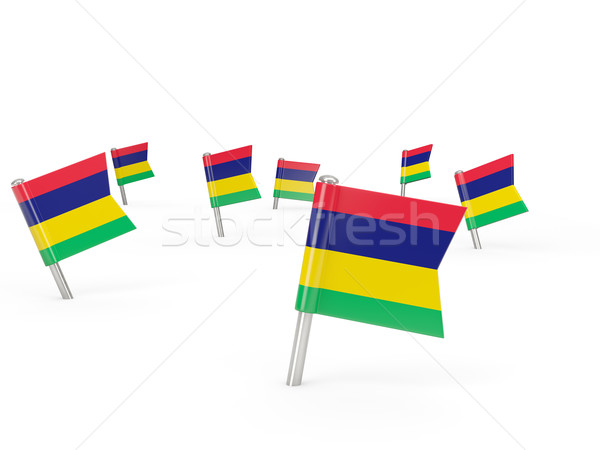 Square pins with flag of mauritius Stock photo © MikhailMishchenko