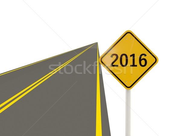 2016 nowy rok podpisania drogowego odizolowany biały Zdjęcia stock © MikhailMishchenko