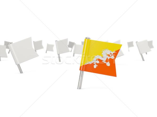 Praça pin bandeira Butão isolado branco Foto stock © MikhailMishchenko