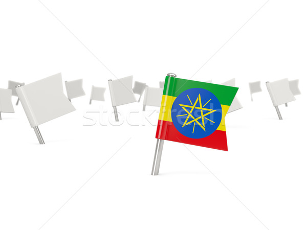 Square pin with flag of ethiopia Stock photo © MikhailMishchenko