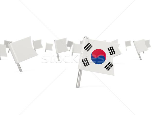 Square pin with flag of korea south Stock photo © MikhailMishchenko