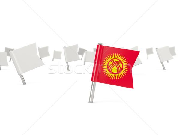 Kare pin bayrak Kırgızistan yalıtılmış beyaz Stok fotoğraf © MikhailMishchenko