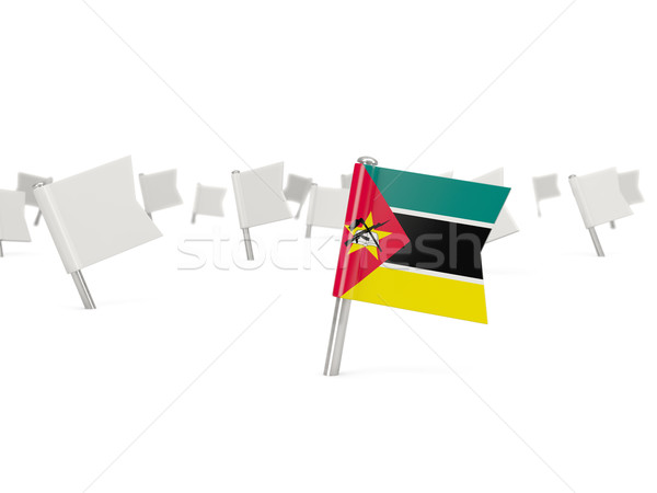 Placu pin banderą Mozambik odizolowany biały Zdjęcia stock © MikhailMishchenko