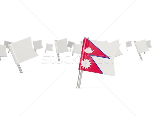 Stok fotoğraf: Kare · pin · bayrak · Nepal · yalıtılmış · beyaz