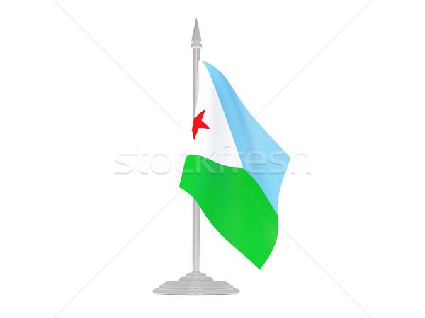 Vlag Djibouti vlaggestok 3d render geïsoleerd witte Stockfoto © MikhailMishchenko
