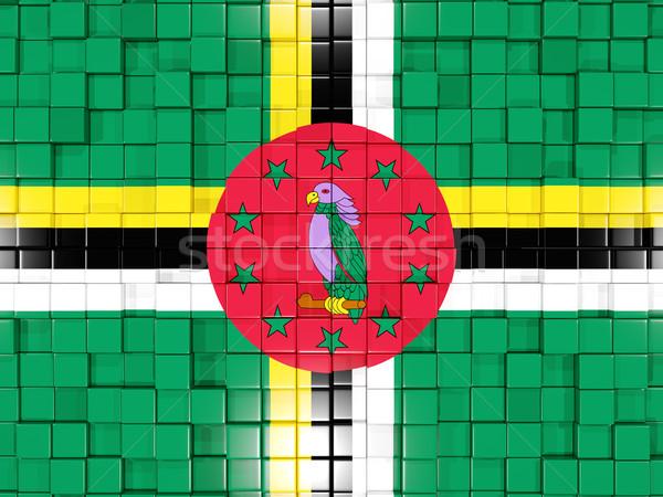 квадратный флаг Доминика 3d иллюстрации мозаика Сток-фото © MikhailMishchenko