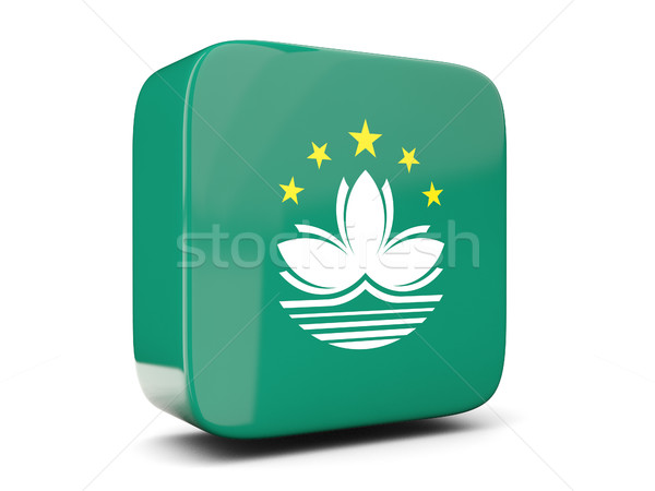 Square icon with flag of macao square. 3D illustration Stock photo © MikhailMishchenko