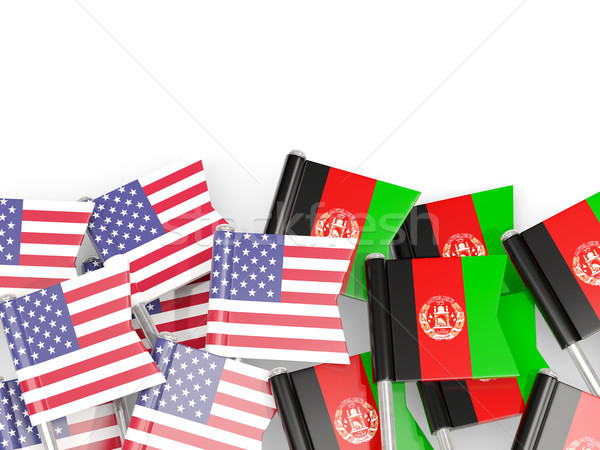Flag pins of USA and Afghanistan isolated on white. 3D illustrat Stock photo © MikhailMishchenko