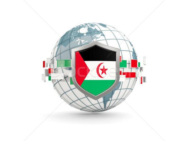 Globe and shield with flag of western sahara isolated on white Stock photo © MikhailMishchenko