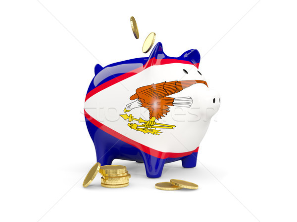 Gordura piggy bank Samoa Americana dinheiro isolado branco Foto stock © MikhailMishchenko