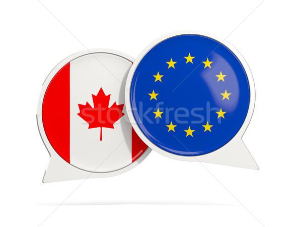 チャット 泡 カナダ eu 孤立した 白 ストックフォト © MikhailMishchenko
