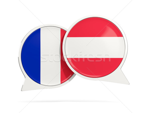 Chat bubbles of France and Austria isolated on white Stock photo © MikhailMishchenko