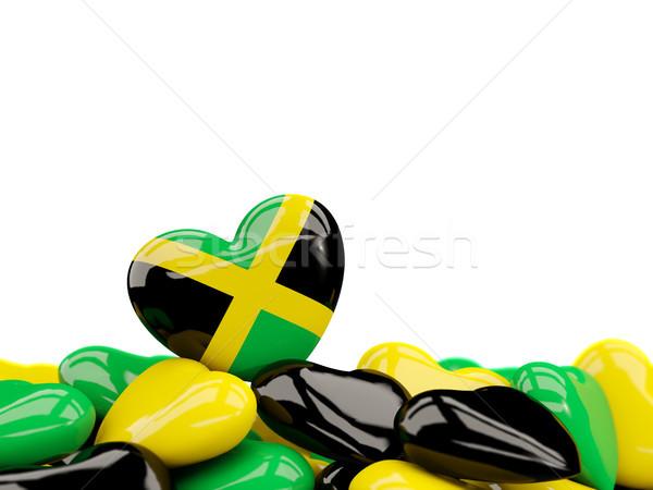 Kalp bayrak Jamaika üst kalpler yalıtılmış Stok fotoğraf © MikhailMishchenko